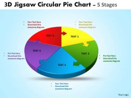 3d jigsaw circular templates pie chart 5 stages style 4 powerpoint templates 5