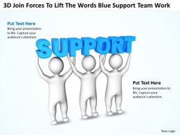3D Join Forces To Lift The Words Blue Support Team Work Ppt Graphics Icons