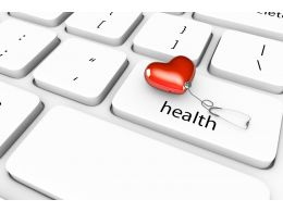 3D Keyboard With Heart And Health Stock Photo