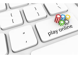 3D Keyboard With Key To Play Online Stock Photo