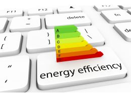 3D Keyboard With Multicolored Bar Graph For Energy Efficiency Stock Photo