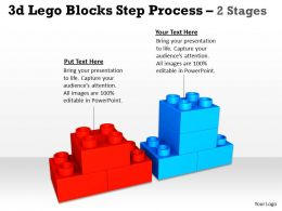 3d Lego Blocks Step Process 2 Stages