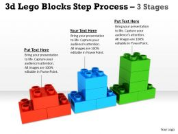 3d Lego Blocks Step Process 3 Stages