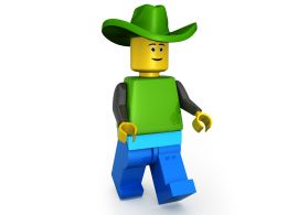 3D Lego Man Wearing Green Hat Stock Photo