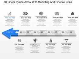 3d Linear Puzzle Arrow With Marketing And Finance Icons Powerpoint Template Slide