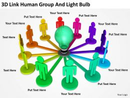 3D Link Human Group And Light Bulb Ppt Graphics Icons