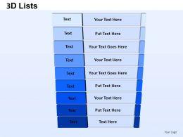 3D List 1 Powerpoint Presentation Slides