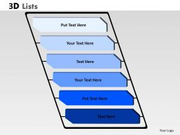 3D List 6 stages rectangular diagram 5