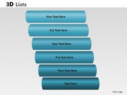 3D List 6 Steps For Linear Process