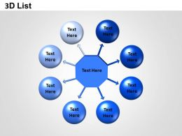 3D List Circle And Hexagon Powerpoint Presentation Slides