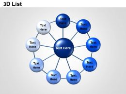 3D List Circle Network Powerpoint Presentation Slides