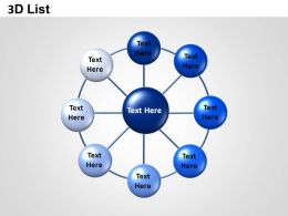 3D List Circle Network Powerpoint Presentation Slides