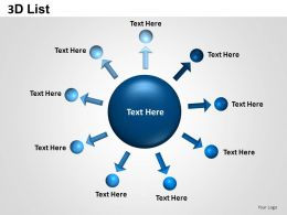 3D List Circle Text Boxes Powerpoint Presentation Slides