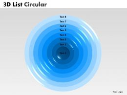 3D List Circular Diagram With 8 Stages