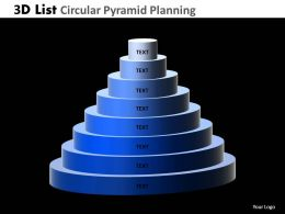 3D List Circular Pyramid Planning Powerpoint Slides And Ppt Templates DB