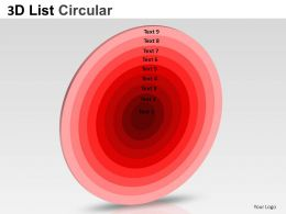 3D List Circular Style 1 Powerpoint Presentation Slides