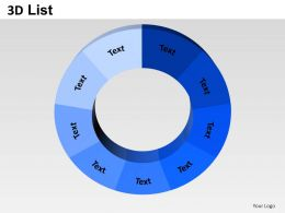 3D List Circular Style 4 Powerpoint Presentation Slides