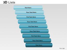 3D List Cylinder Style 2 Powerpoint Presentation Slides
