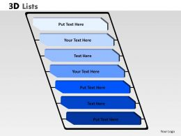3D List Diagram With 7 Stages For Business