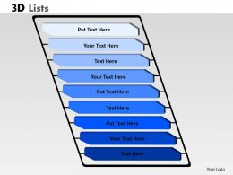 3D List Diagram With 9 Stages For Business