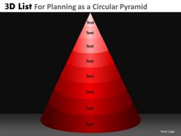 3D List For Planning As A Circular Pyramid Powerpoint Slides And Ppt Templates DB