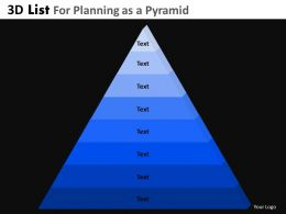 3D List For Planning As A Pyramid Powerpoint Slides And Ppt Templates DB