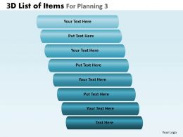 3D List Of Items For Planning 3 Powerpoint Slides And Ppt Templates DB