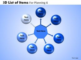 3D List Of Items For Planning 6 Powerpoint Slides And Ppt Templates DB