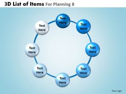3D List Of Items For Planning 8 Powerpoint Slides And Ppt Templates DB