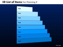 3D List Of Items For Planning 9 Powerpoint Slides And Ppt Templates DB