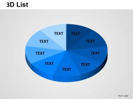 3D List Pie Powerpoint Presentation Slides