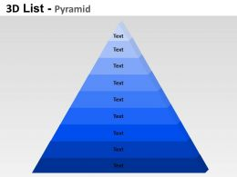 3D List Pyramid Powerpoint Presentation Slides