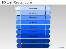 3D List Rectangular Style 4 Powerpoint Presentation Slides