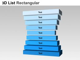 3D List Rectangular Style 5 Powerpoint presentation Slides