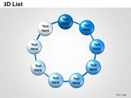 3D List Spheres Text Boxes Powerpoint Presentation Slides