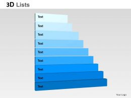 3D List Staies Text Boxes Powerpoint Presentation Slides