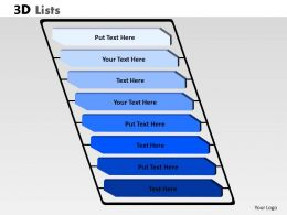 3D List With 8 Stages For Business Process diagram