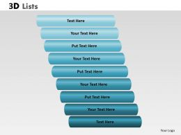 3D List With 9 Stages For Business Process