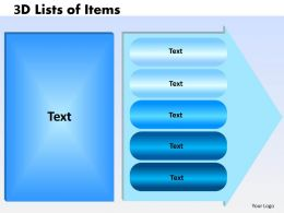 3D Lists of Items 5 design 2