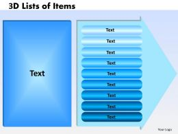 3D Lists of Items 9 text 45