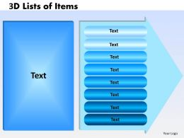 3D Lists of Items eight steps 2