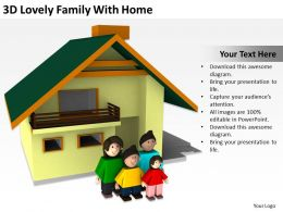 3D Lovely Family With Home Ppt Graphics Icons Powerpoint