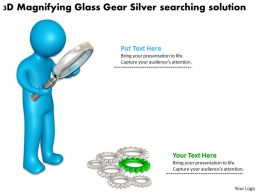 3D Magnifying Glass Gear Silver searching solution Ppt Graphic Icon