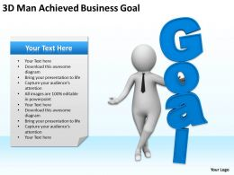 3D Man Achieved Business Goal Ppt Graphics Icons Powerpoint