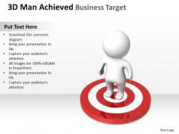 3D Man Achieved Business target Ppt Graphics Icons