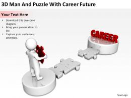 3D Man And Puzzle With Career Future Ppt Graphics Icons