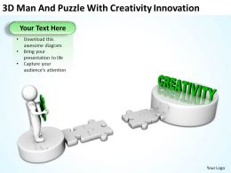 3d_man_and_puzzle_with_creativity_innovation_ppt_graphics_icons_Slide01