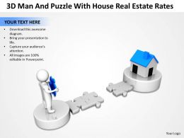 3D Man and Puzzle with House Real estate rates Ppt Graphic Icon