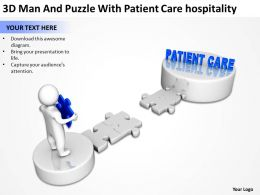 3D Man And Puzzle With Patient Care hospitality Ppt Graphics Icons
