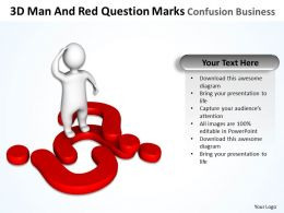 3D Man And Red Question Marks Confusion Business Ppt Graphics Icons